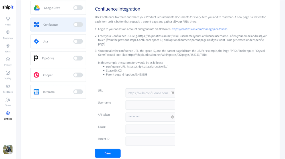 Settings - Integrations - Confluence